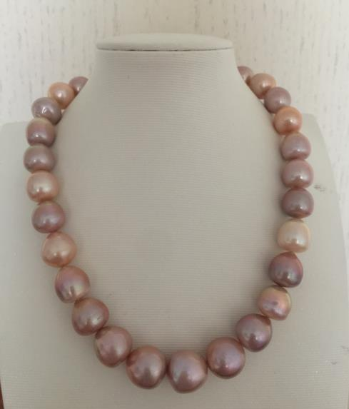 gorgeous 13-14mm south sea baroque multicolor pearl necklace 18inch цена