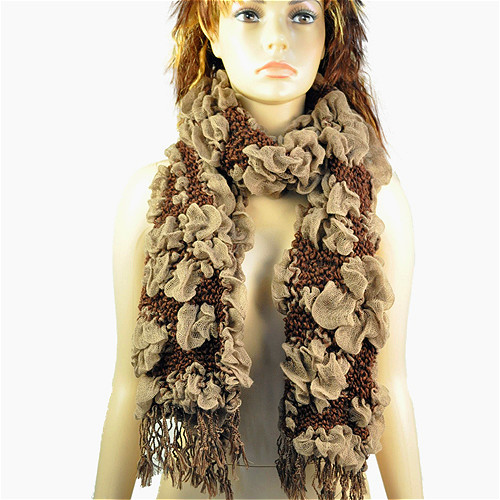 Fashion Necklace Winter Scarf Women Bohemian Bubble Scarf Jacquard Flower Thick Necklace Scarves Winter Warmer Shawl NL-1774