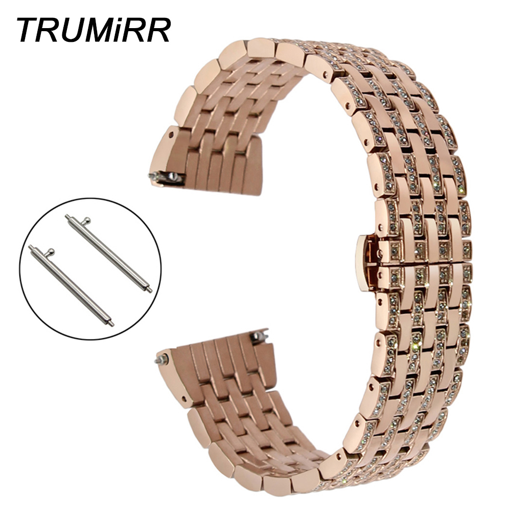 Crystal Diamond Watchband 18mm 20mm 22mm for Seiko Citizen Casio Quick Release Stainless Steel Watch Band