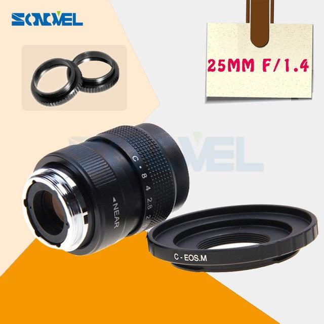 """25 מ""""מ F1.4 עדשת טלוויזיה במעגל סגור טלוויזיה בסרט C + הר עבור Canon EOS M M1 M2 M3 M5 M6 M10 M100 מצלמה ראי C EOS M"""