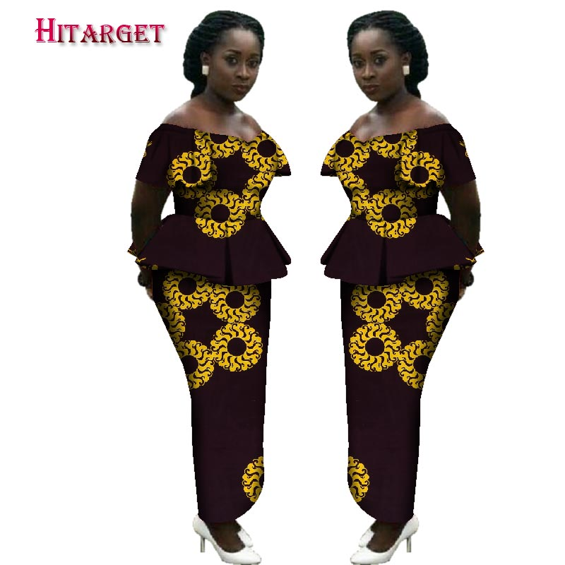 2019 Bazin Riche African Print Kanga Clothing 2 Piece Set with Headtie Women African Crop Top Long Straight Skirt Set WY3151 in Women 39 s Sets from Women 39 s Clothing