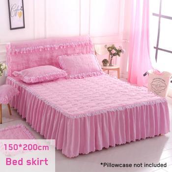150*200 cm saia da cama definir Rendas Peatchwork engrossar tampa de cama lençóis de cama 100% Poliéster acolchoado colcha de cama pastorais folha 3 pcs