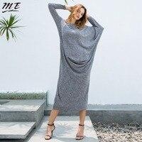 ME Women Fashion Dress 2017 Autumn Winter Batwing Sleeve Asymmetric Long Maxi Dress Casual Knit Draped