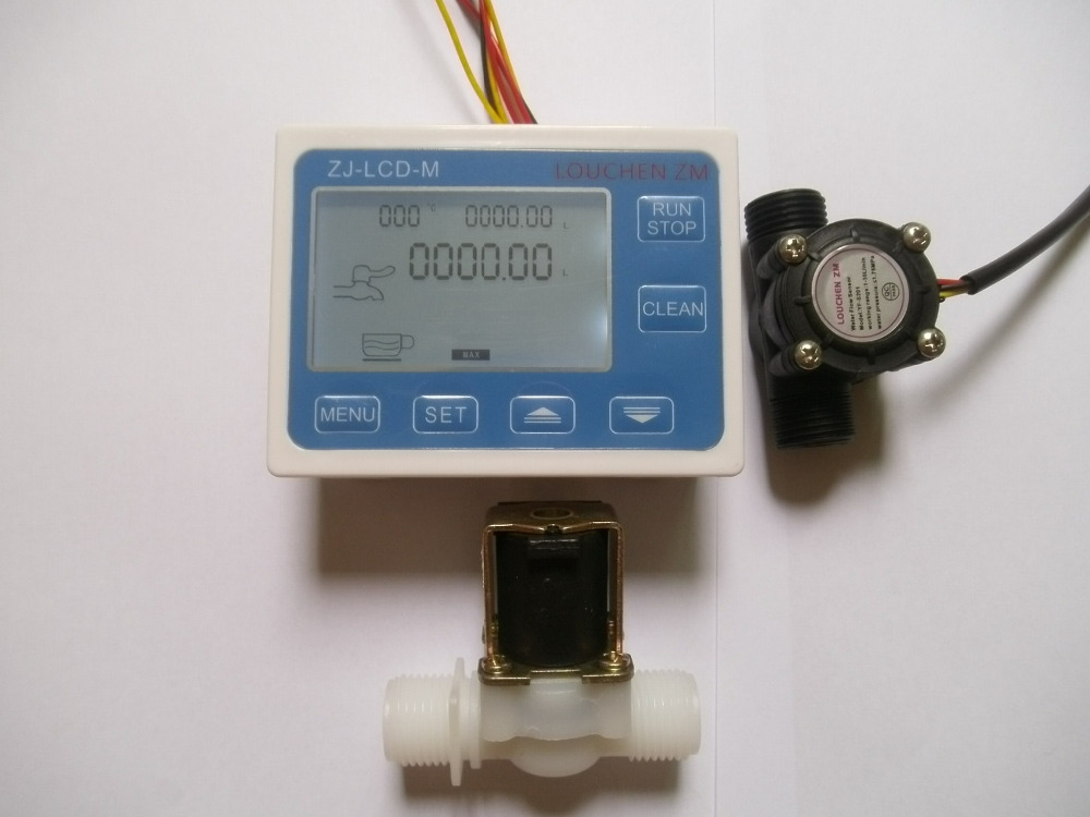 Durable Quality 1/2 Water Flow Control Meter LCD Display + Flow Sensor + Solenoid Valve light weight