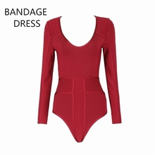 Bandage Bodysuit 2017 New Celebrity Runway Red Long SleeveS Sexy O-Neck Bodycon Women Party Club Bandage Bodysuit HL J410