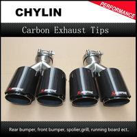 A Pair Dual Stainless Akrapovic exhaust tip Carbon Fiber tailpipe Inlet 2.5Outlet 3.5 car styling exhaust muffler tip