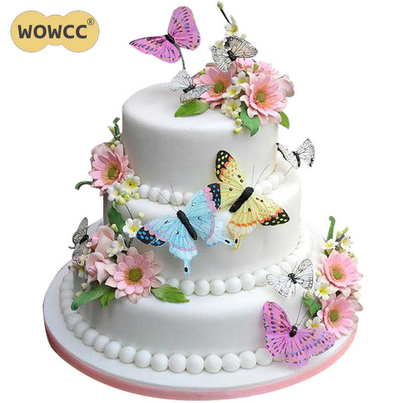 36pcs Mixed Butterfly Flowers Edible Glutinous Wafer Rice Paper Cake Cupcake Toppers Decoration Birthday Wedding
