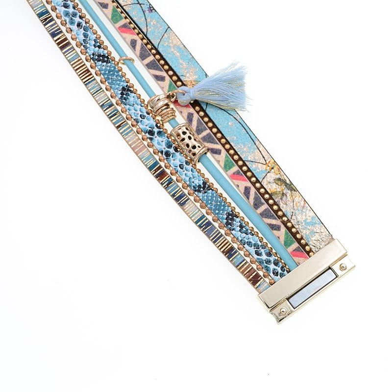brățară din piele Albastru floare albastru snakeskin formă - Bijuterii de moda - Fotografie 4