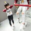 Девушки в осенью 2016 новый Корейский ребенок дети возраст пункт хлопок брюки все-матч отверстие БРЮКИ ЛЕГГИНСЫ