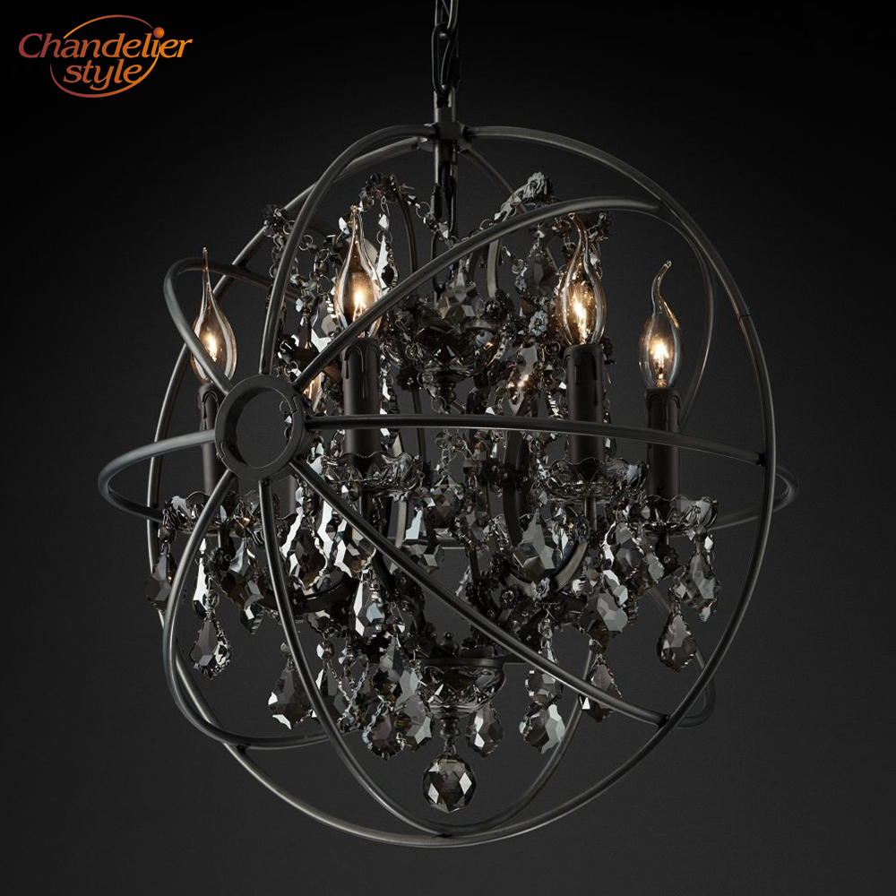 Image 3 - Foucaults Orb Smoke Crystal Chandelier Lighting Rustic Candle Chandeliers Lamp LED Pendant Hanging Light Hotel Chandelier Light-in Chandeliers from Lights & Lighting
