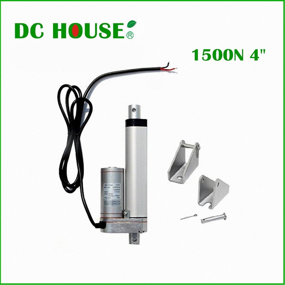 DC дом 100 мм 4 дюйма хода 12 В DC 5,7 мм/сек. 1500N = 150 кг нагрузки Скорость мини-Электрический линейный привод линейный трубчатый движения