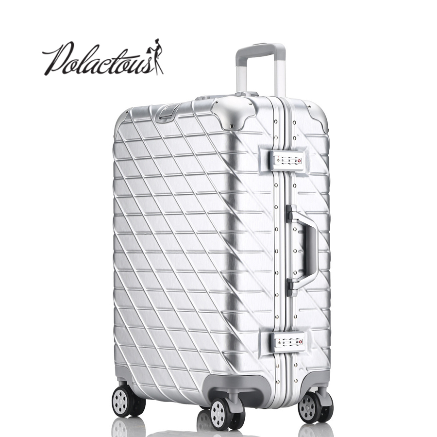 20 24 26 29 inch Aluminum frame + PC + ABS Hardside Luggage, Vintage Rolling suitcase, Nniversal wheel Password Lock Bag
