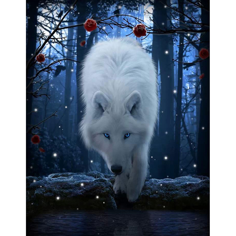5D Diy Diamond Painting Cross Stitch full Square Round Diamond Embroidery White wolf picture for room Decor H935 in Diamond Painting Cross Stitch from Home Garden