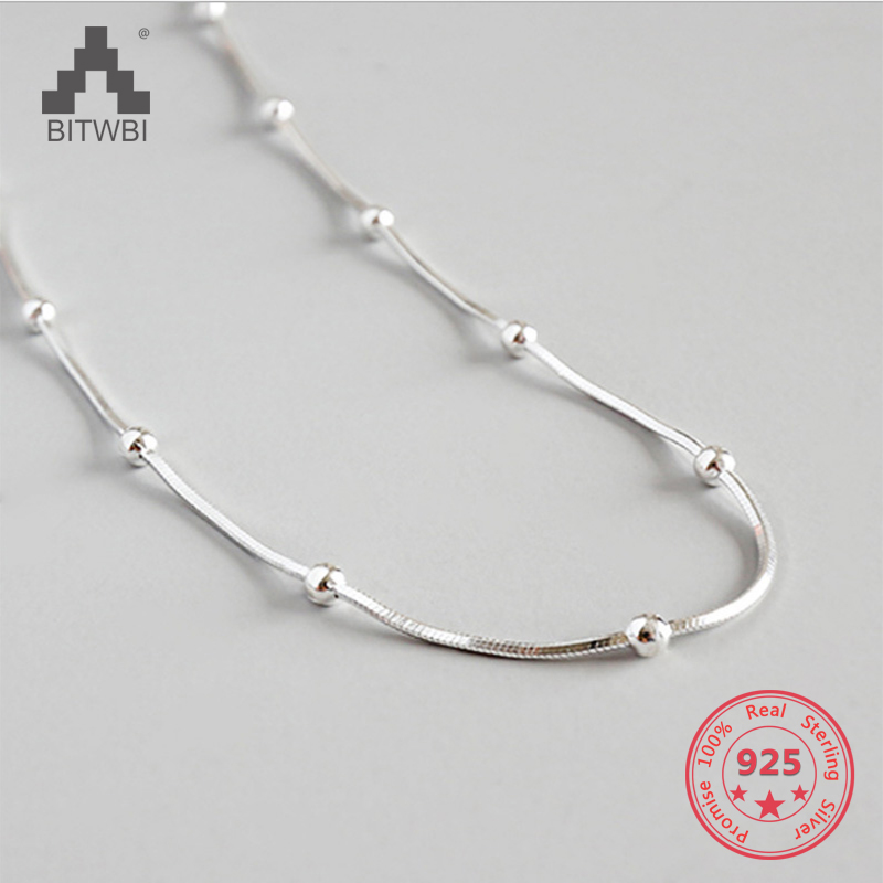 S925 Sterling Silver Simple Handmade Snake Bone Chain Beads Woman Necklace Jewelry