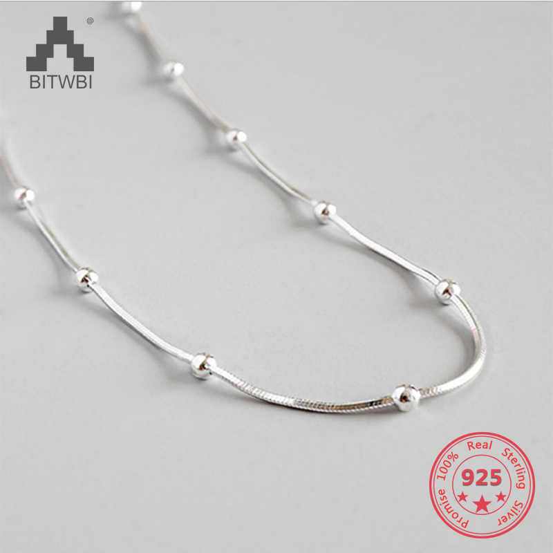 2019 Fashion Necklace Silver 925 Jewelry Concise Charm Snake Bone Chain Beads Woman Girl Necklace Holiday Gift
