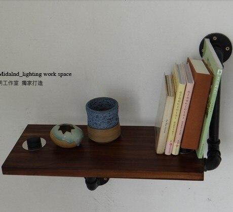Лофт ретро утюг труб на стены книжная полка полки древесины книжный шкаф полка промышленного кафе декоративной книги SHELF-Z35