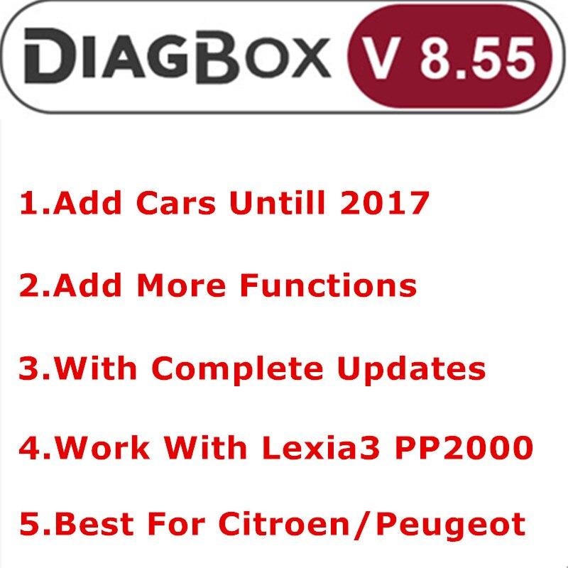 Mais novo diagbox v8.55 + v7.83 atualização completa para lexia3 pp2000 lexia-3 diagbox 8.55 adicionar carro até 2017 diagnóstico para citroen/peogeot