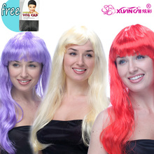 Anime Cosplay Free Shipping Hot Sale Multicolor Cheap Synthetic Hair Wig Cosplay Colored Costume Long Straight Wigs For Party