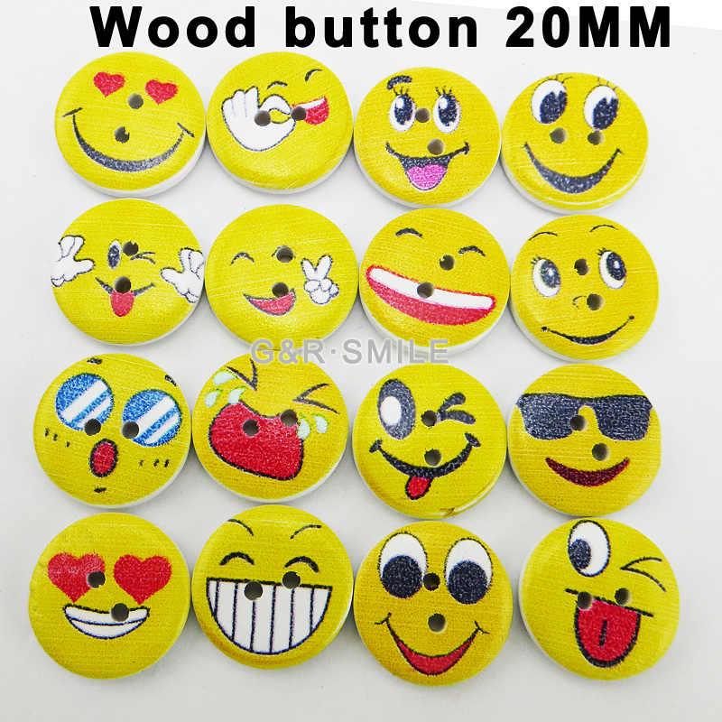 50 ADET 2-Holes boyama ahşap karikatür sarı gülen yüz düğmeler marka ceket bot dikiş giysi aksesuarı MCB-104