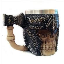 Retro ax handle cups and mugs Free Shipping Skull Warrior Tankard Viking Skull Vodka Whiskey Beer Mug Gothic Helmet Drinkware