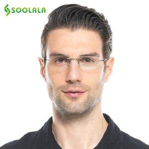 Image 5 - SOOLALA נשים גברים טיטניום נירוסטה ללא מסגרת משקפי קריאה גבוהה סוף קל קוראי משקפיים עם מקרה + 1.0 כדי 3.5