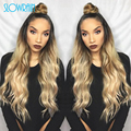 Fashion Dark Root Blonde Ombre Full Lace Wig #1bT#613 Wavy Brazilian Ombre Two Tone Glueless Lace Front Human Hair Wig For Women
