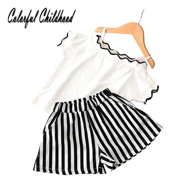 fa44fd73d4 Lovely baby girls clothing set summer shoulderless shirt+stripe shorts 2pcs sets  toddler kids outfits 2-7Yrs