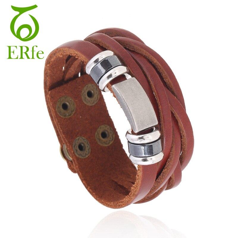 ER Mens Wide Genuine Brown Leather Bracelet Rivet Braslet Cuff Wristand Punk Cowboy Jewelry Casual Male Accessories LB001