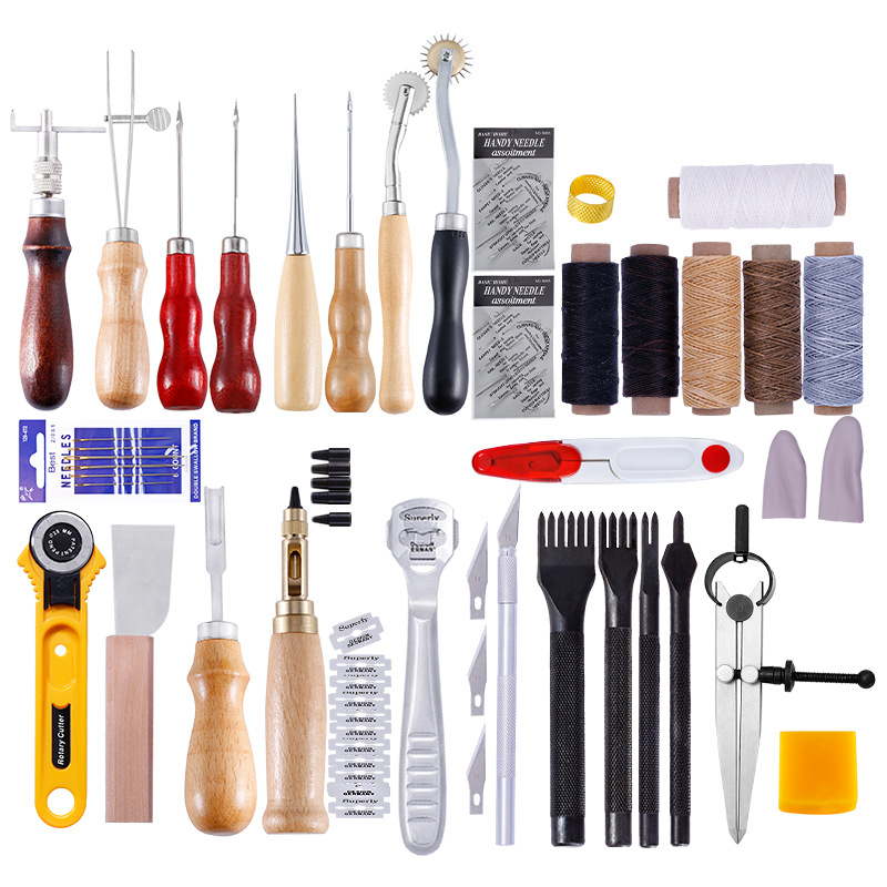 62Pcs/Set Leather Craft Tools Kit Hand Sewing Stitching Punch Carving Work Saddle Leathercraft Accessories feature phone