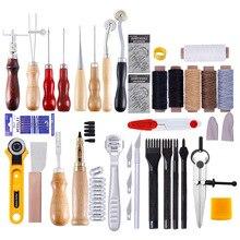 62 unids/set Kit de herramientas para artesanías de cuero, costura a mano, puntada, tallado, sillín de trabajo, accesorios para artesanías de cuero