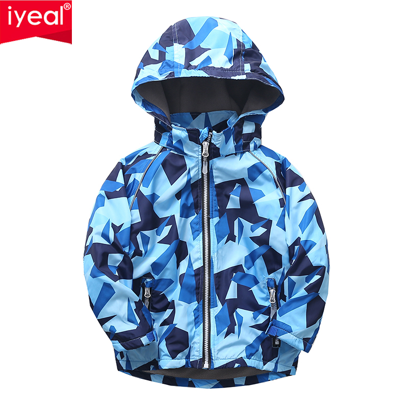 IYEAL Autumn Warm Child Coat Kids Clothes Hooded Windproof Boys Jackets Children Outerwear With Fleece For 4-10 Years Old