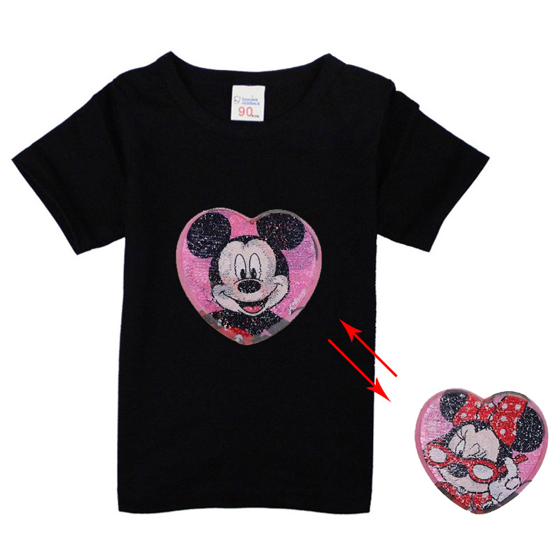 4 6 8 10 T new arrive cartoon t-shirt mouse sequins mickey minnie change color t shirt for boys and girls children image