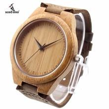 Bobo bird amante original de bambu natural de madeira casual relógios de quartzo estilo clássico com pulseira de couro real na caixa de presente