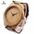 Bobo bird único amante de madera de bambú natural de cuarzo ocasional relojes de estilo clásico con correa de cuero real en caja de regalo