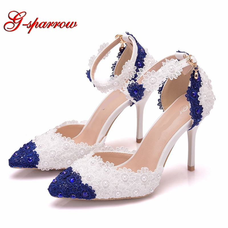 9cm Blue and White Lace Flower banquet stage sandals Sweetness Lace Bridesmaid Shoes Pointed Toe Girl
