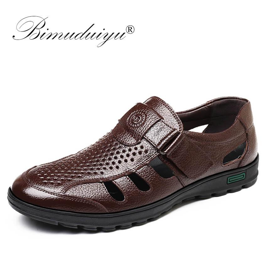 BIMUDUIYU Genuine Leather font b Men b font Summer Sandals Breathable Casual font b Shoes b
