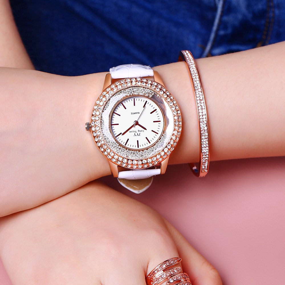 2018 Women Fashion Creative Analog Quartz Watches Rose Golden Rhinestone Leather Band Ladies Watch Wristwatch Relogio Feminino ladies women watches 2017 fashion women rhinestone bracelet watches analog quartz wristwatch ladies clock relogio feminino