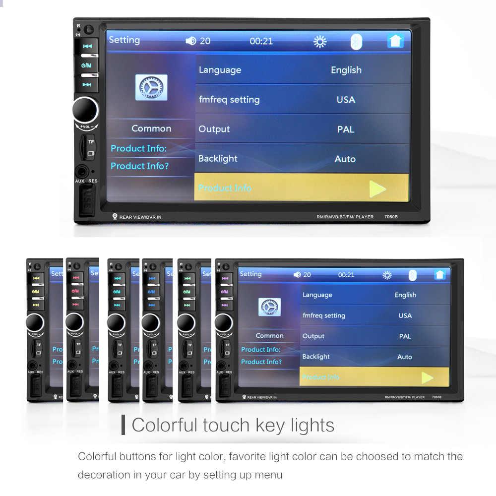 7060B 7 Inch Bluetooth TFT Layar Mobil Audio Stereo MP4 Player 12V Auto 2-Din Dukungan AUX FM USB SD MMC Dukungan untuk JPEG, WMA, MP5