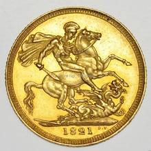 5 шт./лот,, 1821, британская Золотая монета от Георга IIII aEF, копия монеты