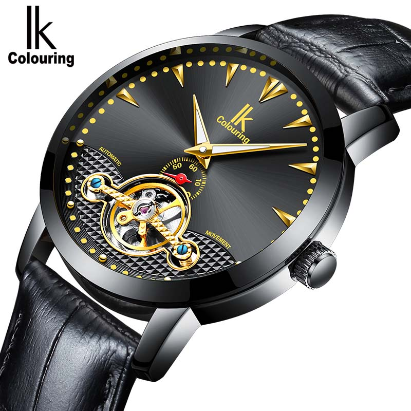 цены Men Luxury Brand Watch IK colouring Automatic Mechanical Wristwatches Leather Skeleton Men Watches Luxury Brand Heren Horloge