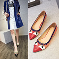 2016 Fashion Women Valentine Pointed High-Heeled Shoes Summer Style Rivets Ladies Sexy Brand Leather Thin Heel Pumps 3cm