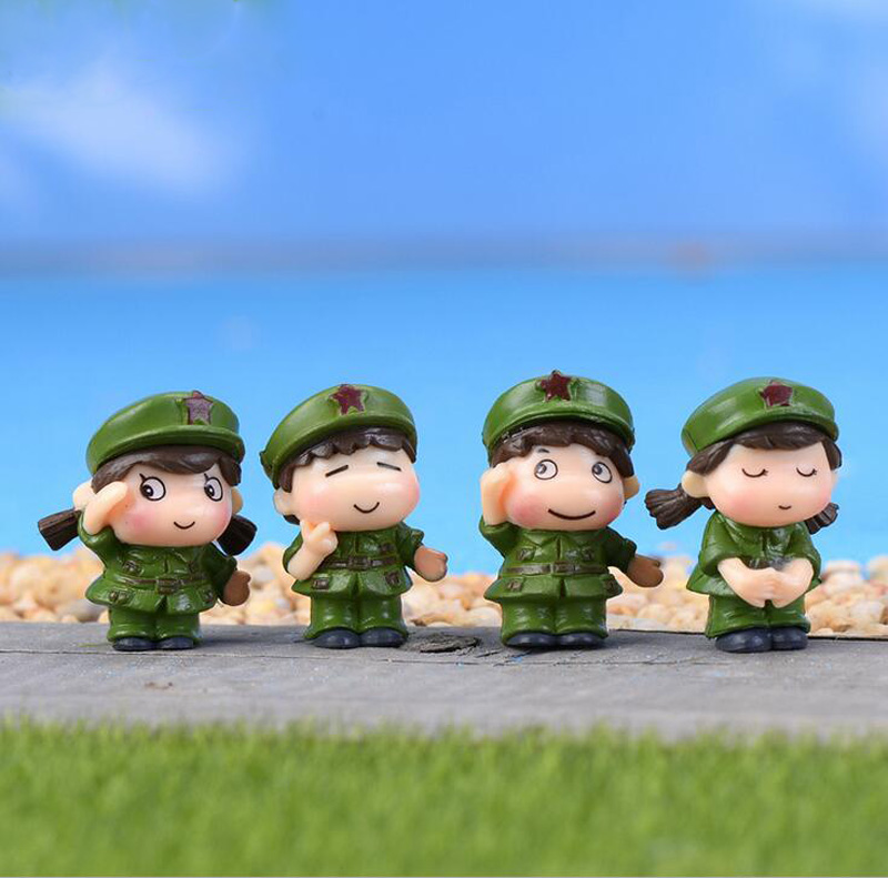 Soldier Lover Figurine Sweety Couple Miniature Bonsai ornament Decoration fairy garden Cartoon Character