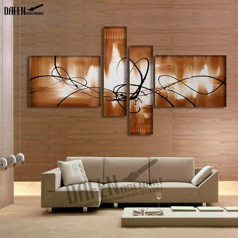 Abstrait peint à la main peinture à l'huile sur toile pour salon Art mural 4 panneaux brun abstrait lignes motif peinture pas de cadre