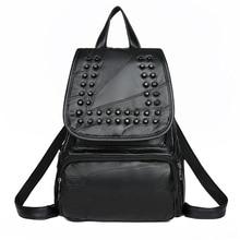 Women PU Leather Backpacks Vintage Female Shoulder Bag with Rivet Travel Ladies Bagpack School Bags Backpack for Girls Mochilas