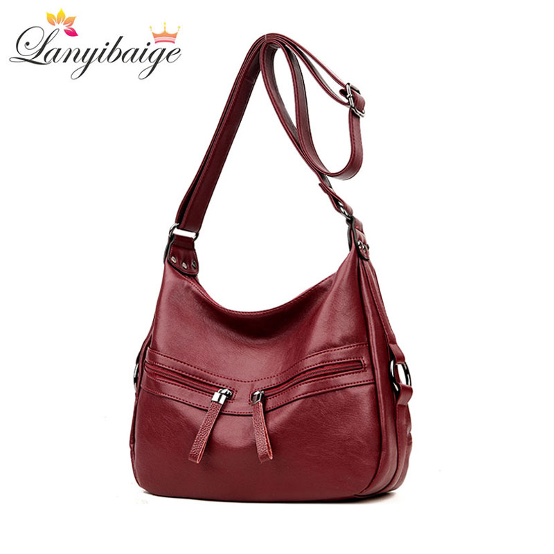 YABEISHINI Brand Soft Leather Bags Handbags Women Famous Brands Solid Double Zipper Bag Casual Tote Women Messenger Bag S