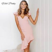 WildPinky New Sexy Summer Party Dress Women Solid Color Ruffles Deep V-Neck Sleeveless Backless Bodycon Dresses Vestidos