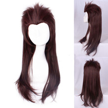 Sally face Larry Heat Resistant Synthetic Hair Sallyface Cosplay Costume Wig accessory 65cm Long Slicked Brown + Track + Wig Cap larry brown facing the music
