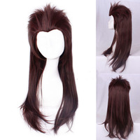 Sally face Larry Heat Resistant Synthetic Hair Sallyface Cosplay Costume Wig accessory 65cm Long Slicked Brown + Track + Wig Cap