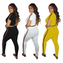 купить Short Sleeve Crop Top Hoodies Long Pants Two Piece Set Bodycon Bodysuit Sexy Casual Outfits For Women Striped Ribbons Side Suits по цене 1745.52 рублей