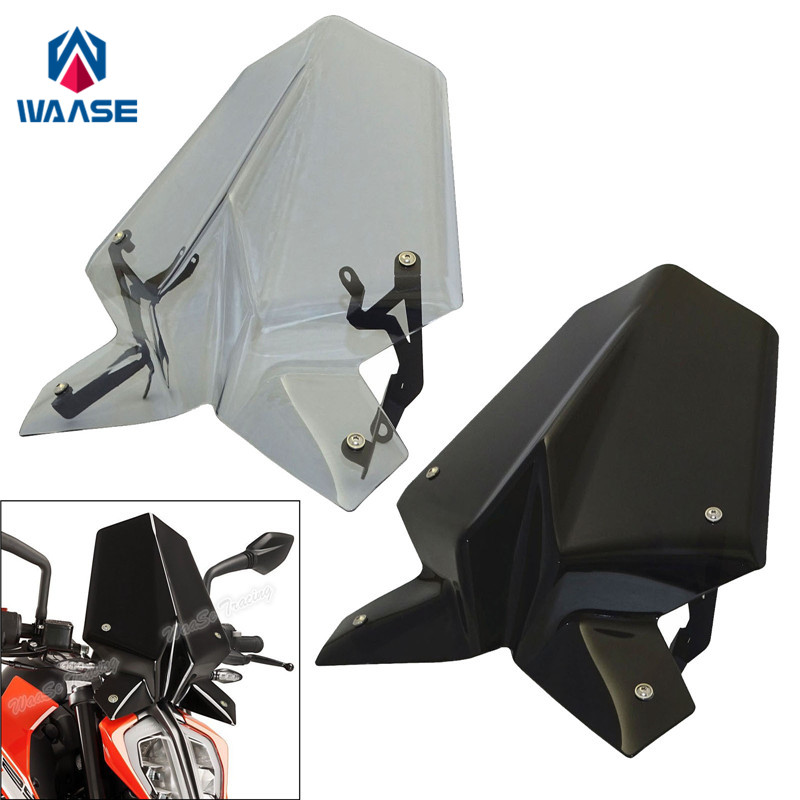 купить waase Motorcycle Windscreen Windshield Shield Screen With Bracket For KTM Duke 200 250 2017 2018 Duke200 Duke250 в интернет-магазине